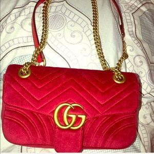 Gucci red velvet handbag